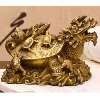 Chinese Feng Shui Golden Wealth Money Loong Dragon Turtle Tortoise Statue a