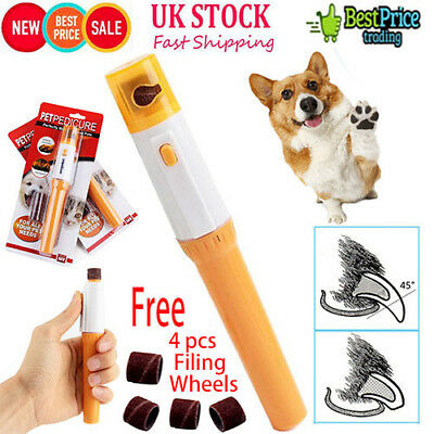 Dog Cat Electric Nail Grooming Grinder Safe Trimmer Clipper Nail File Pet ClawUK