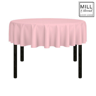 """70"""" Round Wedding Banquet Polyester Fabric Tablecloth - Pink"""
