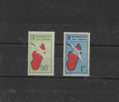 MADAGASCAR , 1935 ' AIR ' SG154 90c RED & GREEN AND SG157 1f 60 RED & LILAC, MH