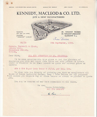 Kennedy, Macleod & Co. Jute & Hemp Manfs. Glasgow 1954 Sales letter