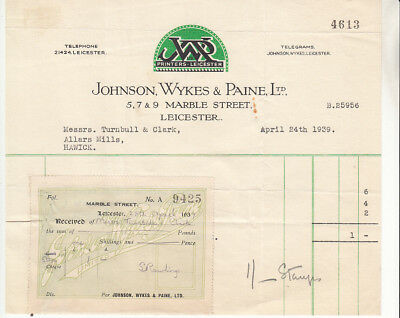 Johnson, Wykes & Paine Ltd, Printers, Leicester 1939 receipt