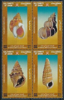 [H15566] Oman 2001 SHELLS - Marina life Good set BLOCK of stamps very fine MNH