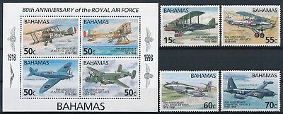 [H16555] Bahamas 1998 ROYAL AIR FORCE Good lot set of stamps+sheet very fine MNH
