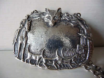 Solid Silver Antique bottle label; neck tag; raised imagery of Fox Hunt & Hounds