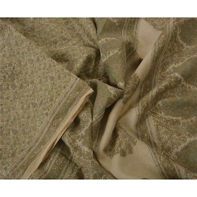 Sanskriti Vintage Cream Saree 100% Pure Silk Printed 5 Yard Sari Craft Fabric