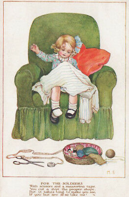 A/S MILLICENT SOWERBY ~ GIRL SEWS SHIRT FOR SOLDIERS POEM Little Patriots PC