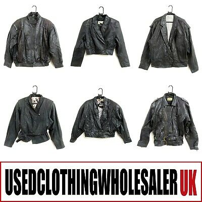 9 Women's Vintage Black Real Leather Coats Jackets Wholesale Clothing Joblot