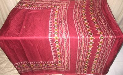 Maroon Pure Silk 4 yard Vintage Sari Saree Pattern Patterns GIFT pictures #9EJSD