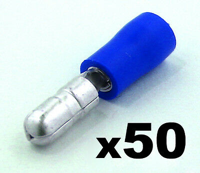 50x Blue Male Bullet Connector Insulated Crimp Terminals for Electrical Wiring