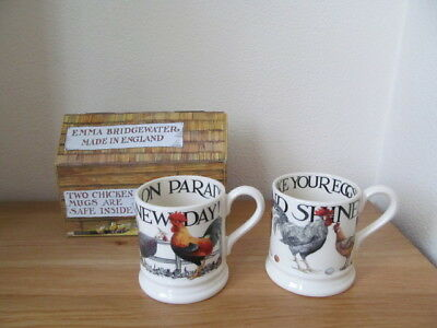 Pair Emma Bridgewater Hen and Toast Chickens 1/2 Pint Mugs 1st Quality New Boxed