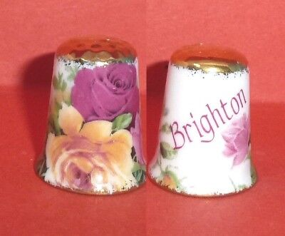 BRIGHTON Thimble Seaside Flowered Roses Gold Trims by Imperial Staff Potteries