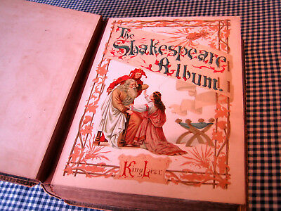 SHAKESPEARE Victorian Leather Photo Album with Color Lithos of his Plays