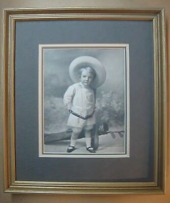 Antique Mother's Oats/Quaker Oats Ad~Embossed Boy w/Golf Bag Ad~matted & framed
