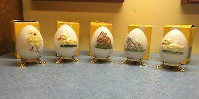 5 Adorable Goebel Easter Eggs With Boxes And Stands Ducks Bunny Lamb Cute