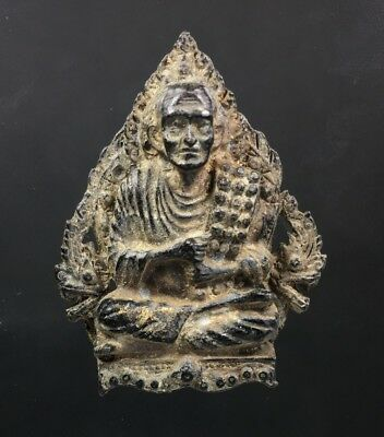Antique Lp Toh Wat Rakang Meditation Pendant Talisman Thai Buddha Amulet Old