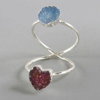 Size 7.5 Pink & Blue Agate Druzy Twisted Full Finger Ring Silver Plated H129264