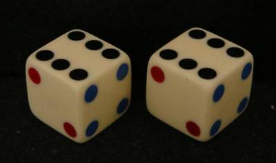 Pair Rare Vintage Loaded (6/1 Shaped Flats) Dice-With Tri Color Inlaid Spots
