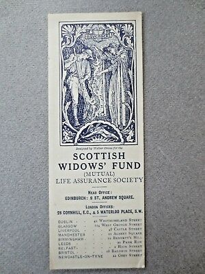 Antique BOOKMARK Scottish Widows Fund 1913 NOVEMBER Walter Crane Art Nouveau
