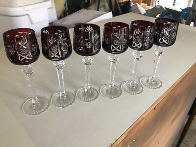 Set Of 6 Dark Ruby Red Cut To Clear Bohemian Czech Crystal Cordial Stems Glasses