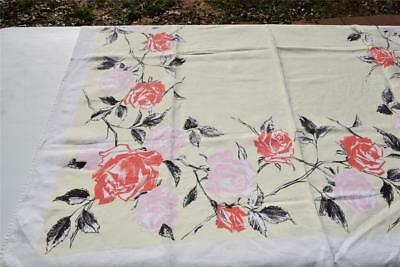 Vintage Roses Tablecloth - 50 x 48 - Linen Guild - Pinks Reds Yellow & White