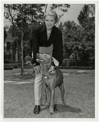 HOLLYWOOD ROYALTY & Style Icon Grace Kelly with Her Dog Vintage 1954  Photograph
