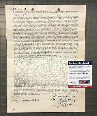 Roy Disney (Walt Disney's Brother) Signed 1953 THE SOCIAL LION Contract PSA/DNA