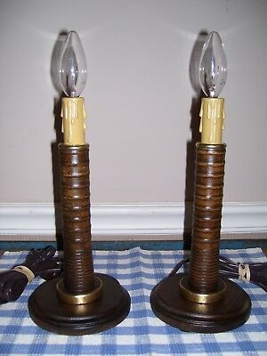 Pair of Vintage Brass Trimmed Yarn or Thread Spool Electric Accent Lamps