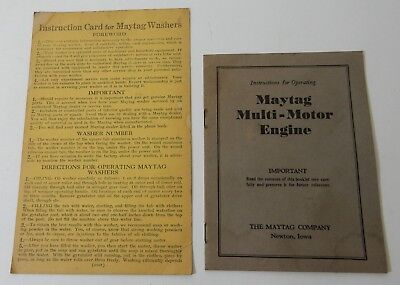 1920's MAYTAG MULTI MOTOR GAS ENGINE OPERATING BOOKLET & INSTRUCTION CARD WASHER