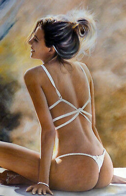 ORIGINAL painting, Glamour, Model, Nude, Pin Up. Fine art work by hallovicky.
