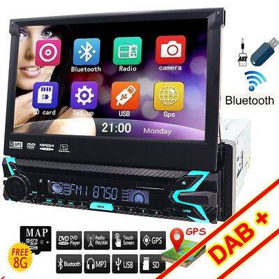 "Autoradio 1 Din Schermo A Scomparsa 7"" Stereo Auto Touch-Screen Bluetooth Usb Sd"