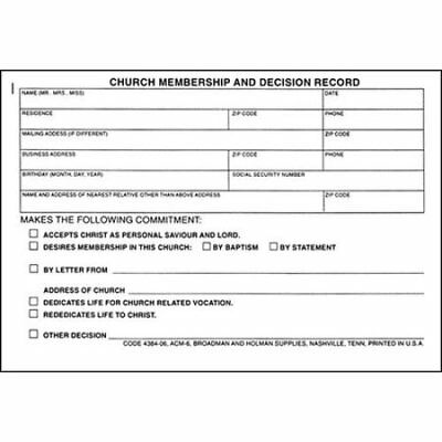 Membership and Decision Record, ACM-6 (pkg. of 100)