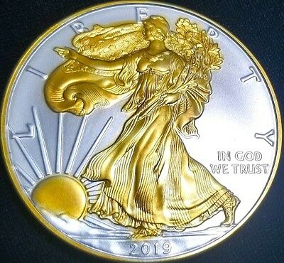 NEW  2019 American Silver Eagle , 24k Gold Gilded  1oz .999 pure Silver Coin R1