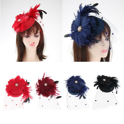 Womens Elegant Wedding Veil Feather Hair Clip Fascinator Hat Cocktail Party