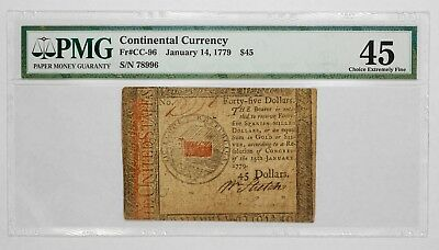 1779 Continental Currency $45 Note - Pmg Certified 45 Choice Extremely Fine (996
