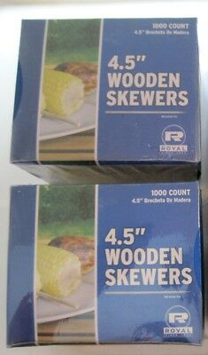 "Lot of 4 NEW Boxes Royal 4.5"" Wooden Wood Skewers 1000 per Box R815 (4000 Total)"