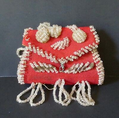 Vintage Iroquois mini-purse - red w/clear beadwork, floral designs