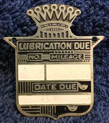 Cadillac Lubrication Due Plate For Brass Era Wooden Dash Auto