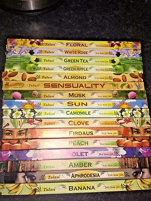 Tulasi Incense Sticks, Pack Of 8 Sticks, Buy 1 Get 1 Free, Free Uk P&P