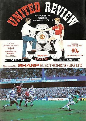 Manchester United v QPR - FA Cup 2nd replay - 1988/89