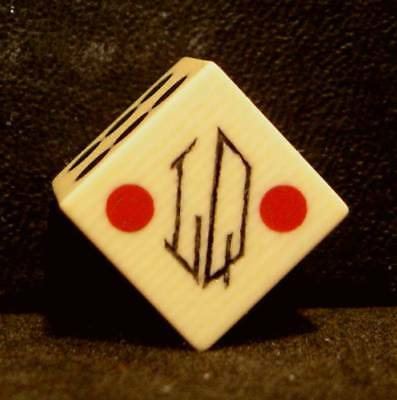 "One Rare Vintage 5/8"" French Ivory Club Dice-Tri Color Inlaid Spots-30s Era-NM"