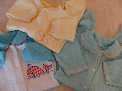 Vtg Whale Butterfly Lace Quilted Newborn Baby Doll Footed Pajamas PJs 0-3 Months