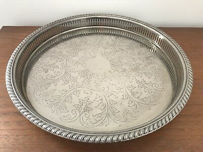 Vintage Round Silver Plated Serving Tray Raised Gallery Very Ornate