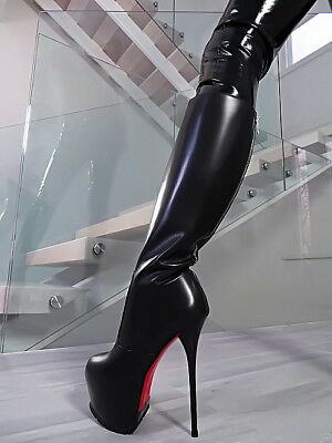 40f715c30cf Hohe Leder Stiefel 1969 Italy Luxus Plateau Ob7 Sexy Boots High Heels  Leather 38