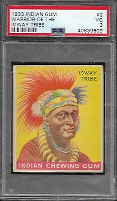 Psa 3 1933 Indian Gum #2 Warrior Of The Ioway Tribe