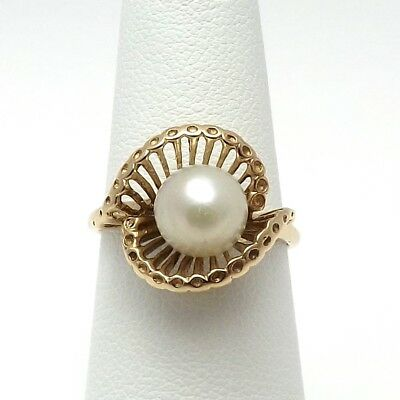 Retro Deco 14K Gold 7.5mm Akoya Pearl Ring Sz 6