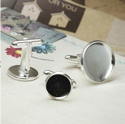 10PCS Silver Plate 14mm Round Blank Settings Cuff Links #22696