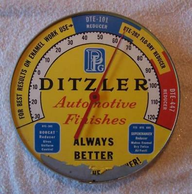 Vintage DITZLER AUTOMOTIVE FINISHES Round Metal ADVERTISING Wall THERMOMETER