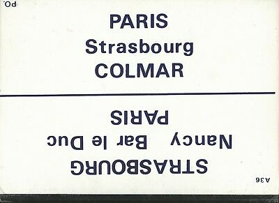 Plaque De Direction Sncf Paris-Colmar // Paris-Strasbourg