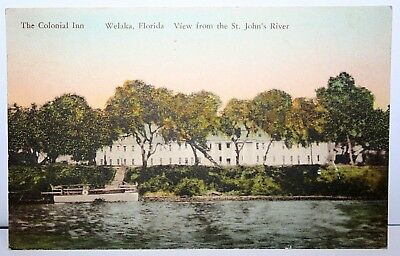 1932 Posted Colonial Inn Welaka Fl - View From St. John's River Postcard
